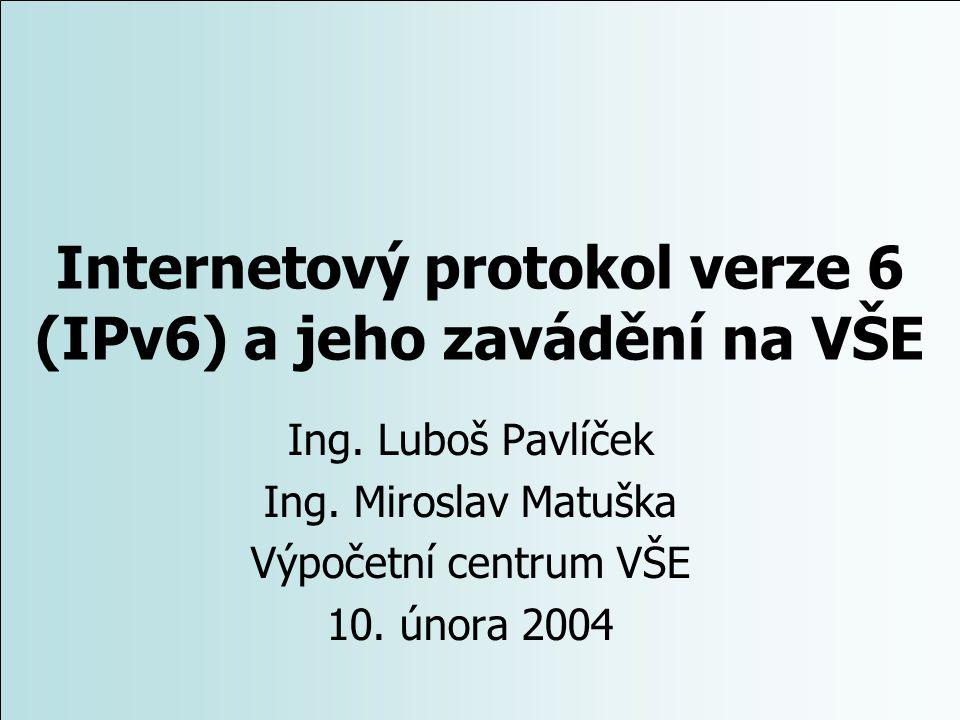Internetový protokol verze 6 (IPv6) a jeho zavádění na VŠE