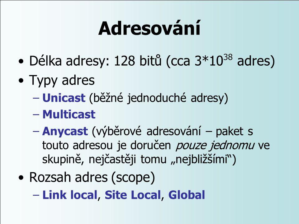Adresování Délka adresy: 128 bitů (cca 3*1038 adres) Typy adres