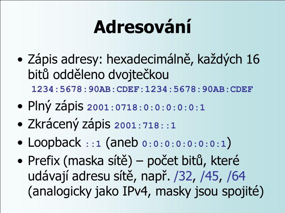 Adresování Zápis adresy: hexadecimálně, každých 16 bitů odděleno dvojtečkou. 1234:5678:90AB:CDEF:1234:5678:90AB:CDEF.