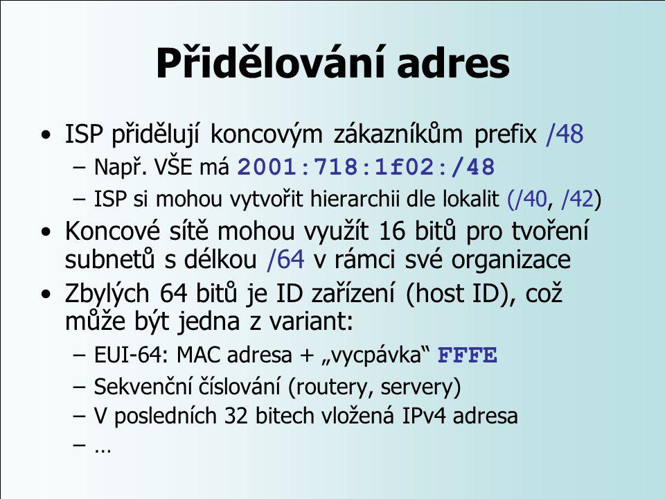 Přidělování adres ISP přidělují koncovým zákazníkům prefix /48