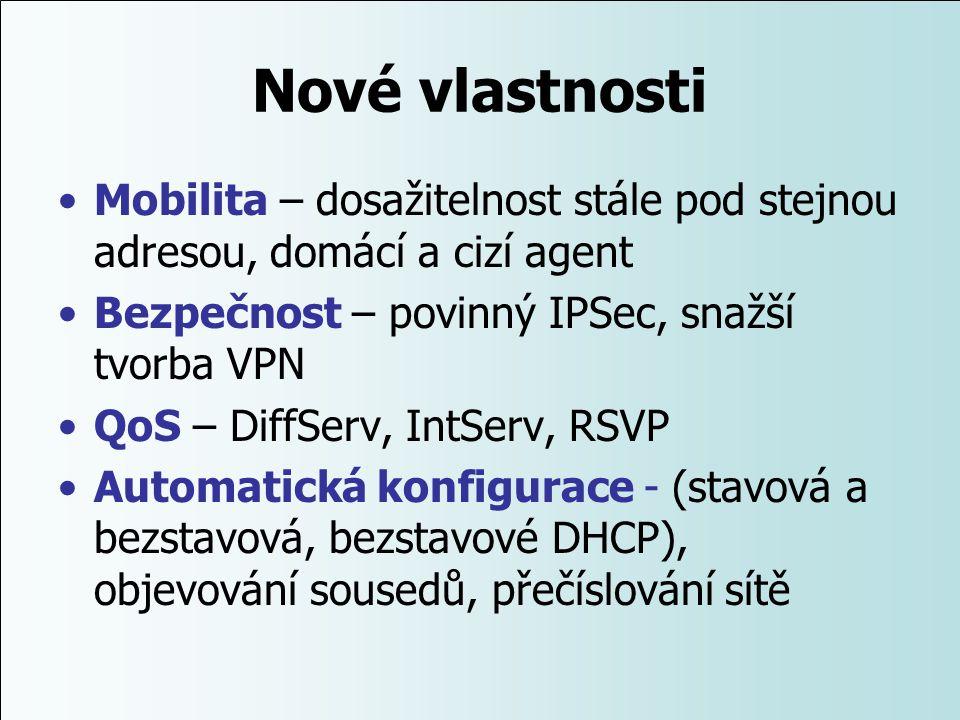 Nové vlastnosti Mobilita – dosažitelnost stále pod stejnou adresou, domácí a cizí agent. Bezpečnost – povinný IPSec, snažší tvorba VPN.