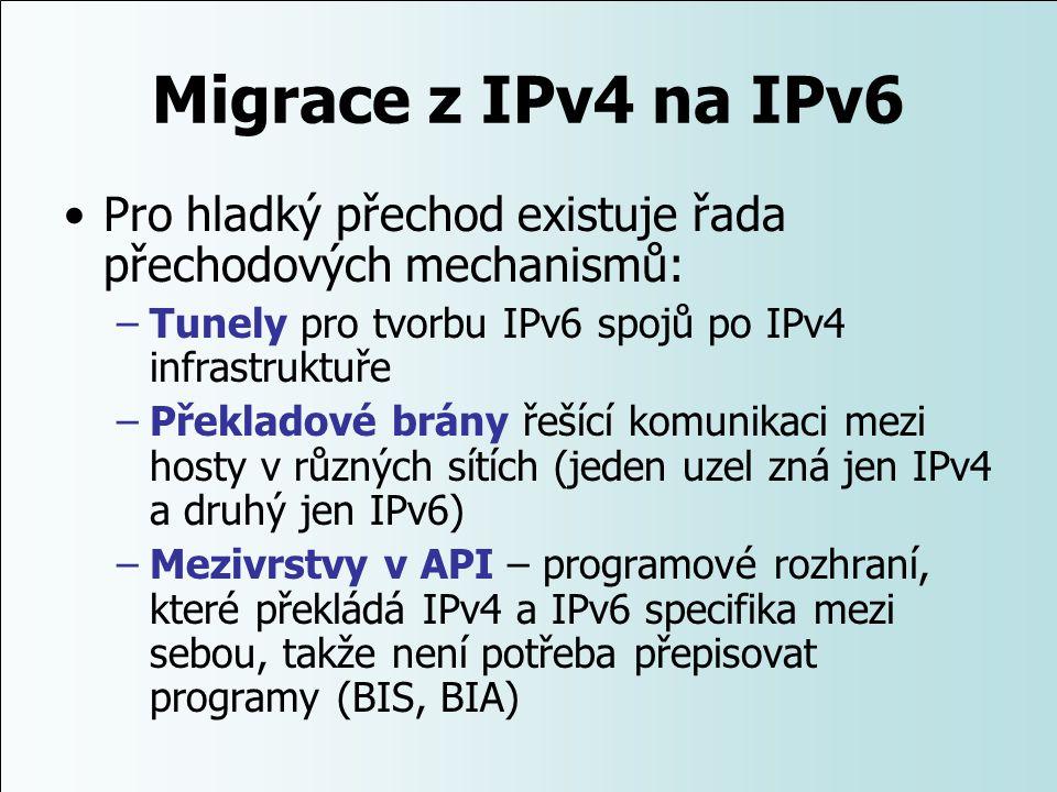Migrace z IPv4 na IPv6 Pro hladký přechod existuje řada přechodových mechanismů: Tunely pro tvorbu IPv6 spojů po IPv4 infrastruktuře.