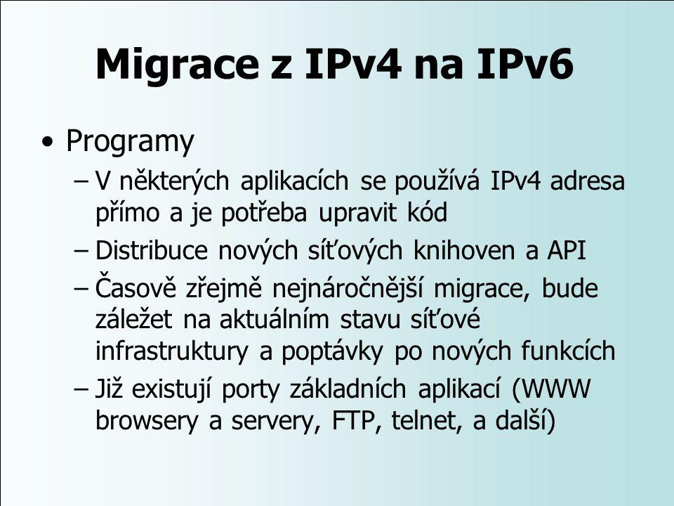 Migrace z IPv4 na IPv6 Programy