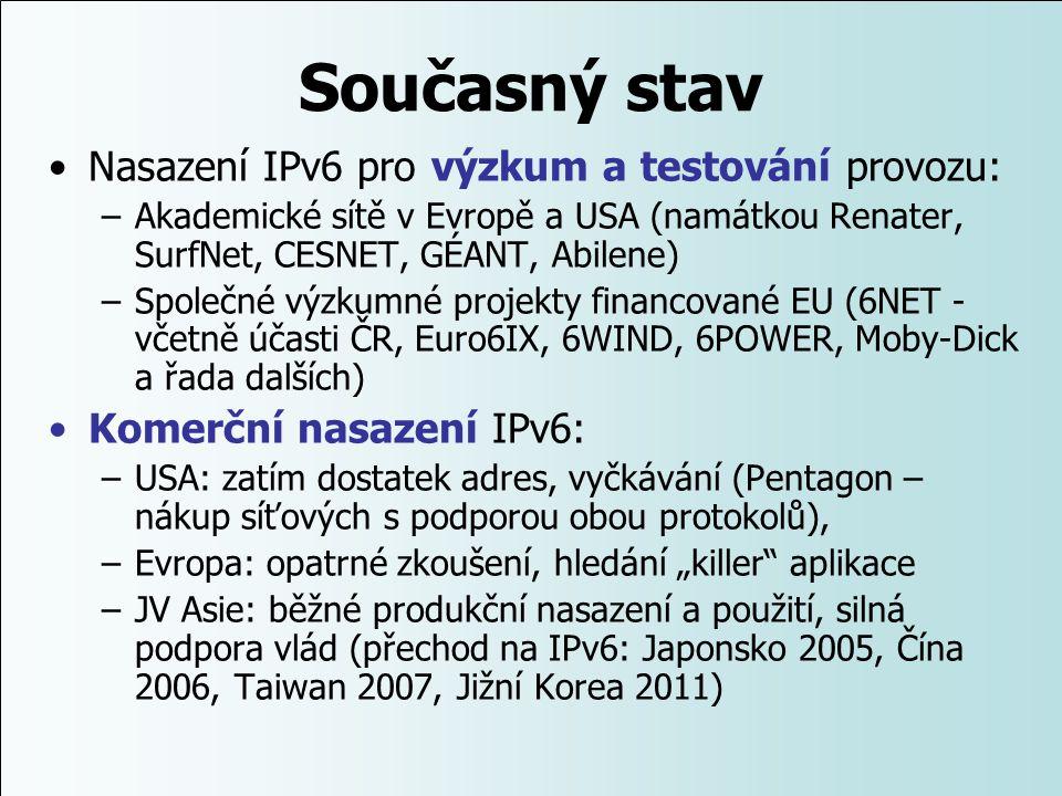 Současný stav Nasazení IPv6 pro výzkum a testování provozu:
