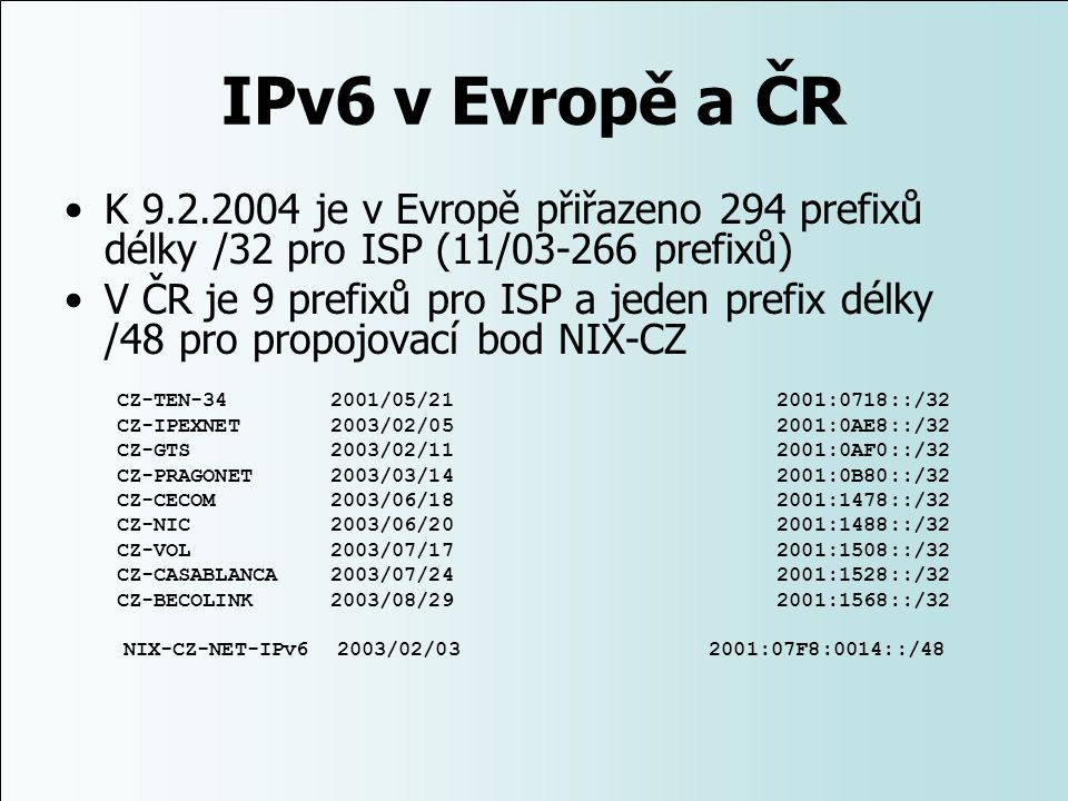 NIX-CZ-NET-IPv6 2003/02/03 2001:07F8:0014::/48