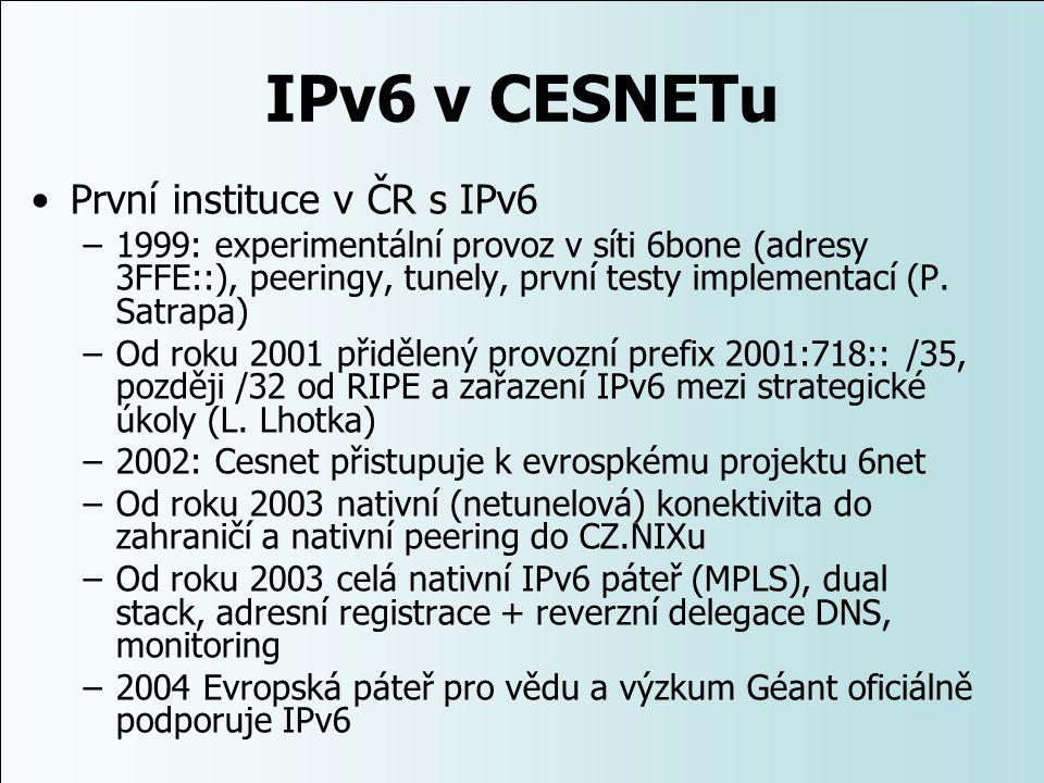 IPv6 v CESNETu První instituce v ČR s IPv6