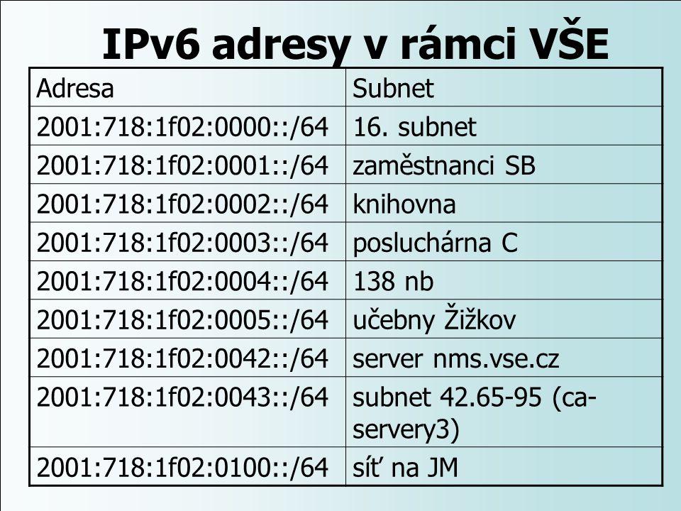 IPv6 adresy v rámci VŠE Adresa Subnet 2001:718:1f02:0000::/64