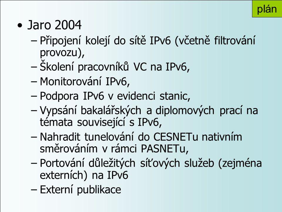 plán Jaro 2004. Připojení kolejí do sítě IPv6 (včetně filtrování provozu), Školení pracovníků VC na IPv6,
