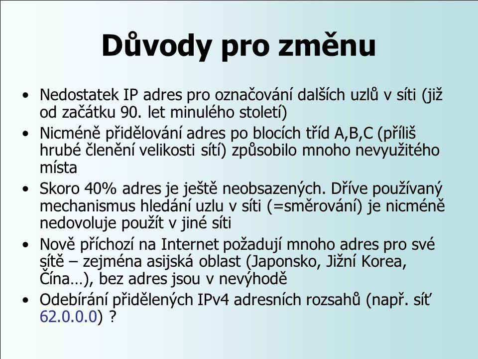 Důvody pro změnu Nedostatek IP adres pro označování dalších uzlů v síti (již od začátku 90. let minulého století)