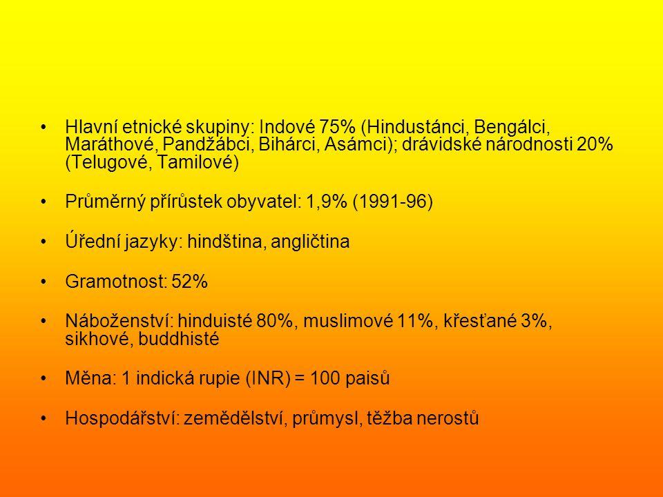 Hlavní etnické skupiny: Indové 75% (Hindustánci, Bengálci, Maráthové, Pandžábci, Bihárci, Asámci); drávidské národnosti 20% (Telugové, Tamilové)
