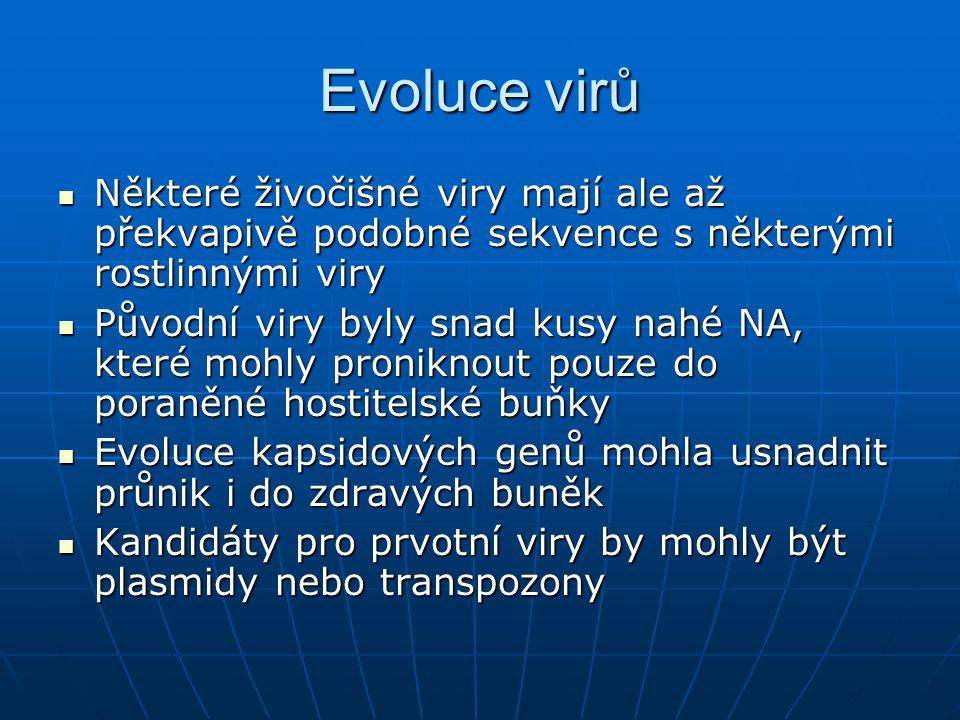 Evoluce virů Některé živočišné viry mají ale až překvapivě podobné sekvence s některými rostlinnými viry.