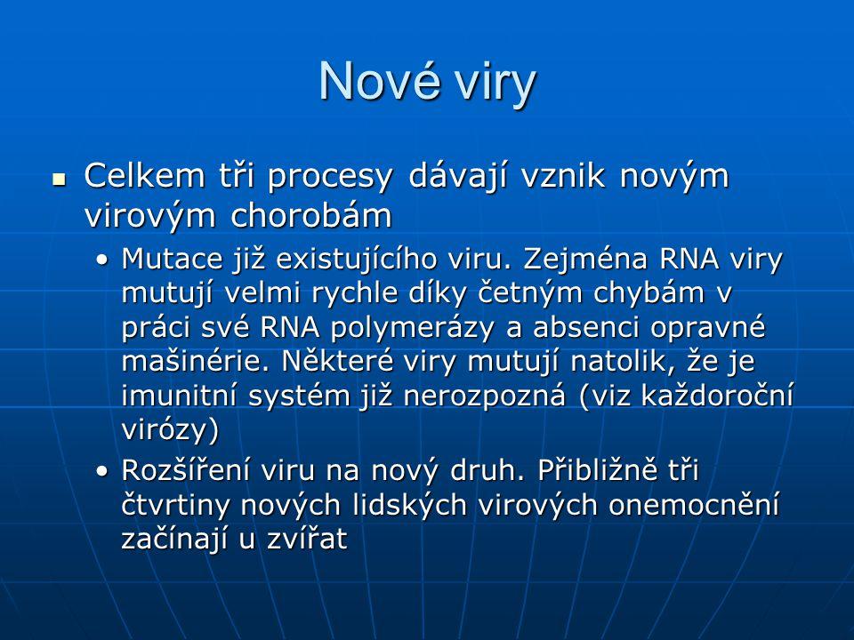 Nové viry Celkem tři procesy dávají vznik novým virovým chorobám
