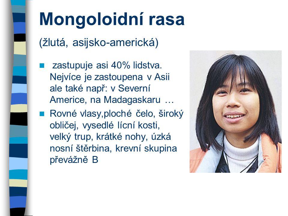 Mongoloidní rasa (žlutá, asijsko-americká)