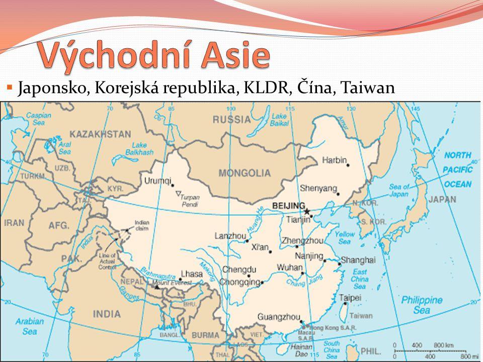 Japonsko, Korejská republika, KLDR, Čína, Taiwan