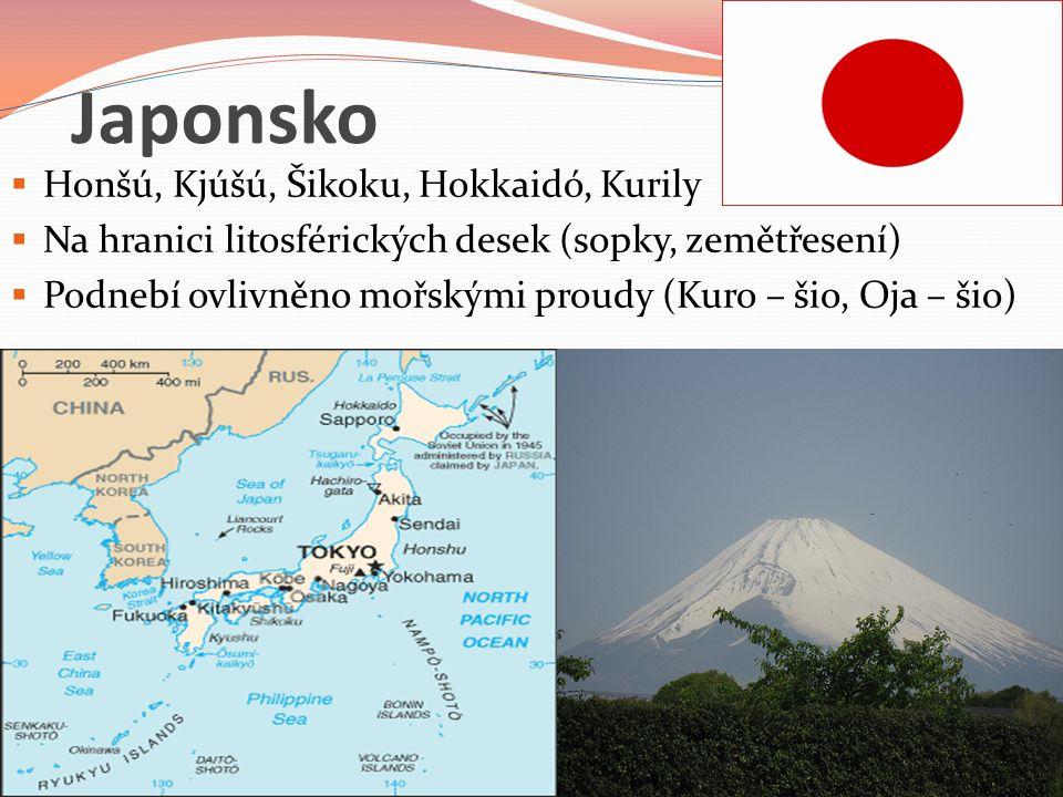 Japonsko Honšú, Kjúšú, Šikoku, Hokkaidó, Kurily
