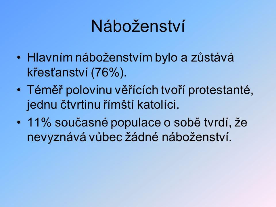 Náboženství Hlavním náboženstvím bylo a zůstává křesťanství (76%).