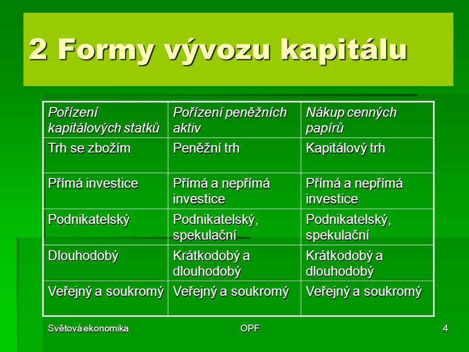 2 Formy vývozu kapitálu Pořízení kapitálových statků