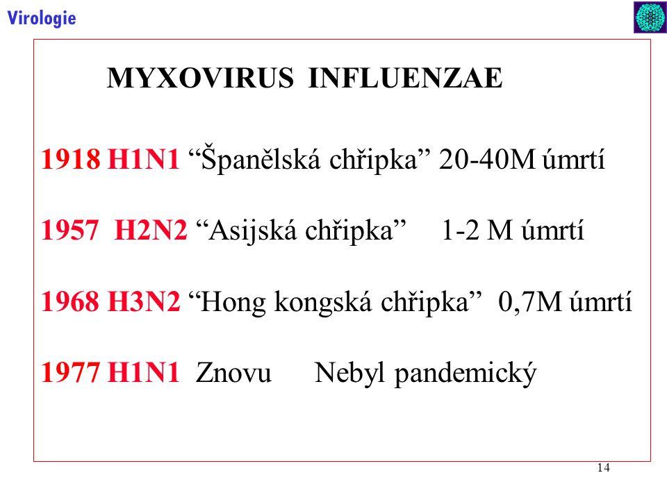 1918 H1N1 Španělská chřipka 20-40M úmrtí