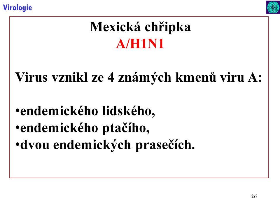 Virus vznikl ze 4 známých kmenů viru A: endemického lidského,