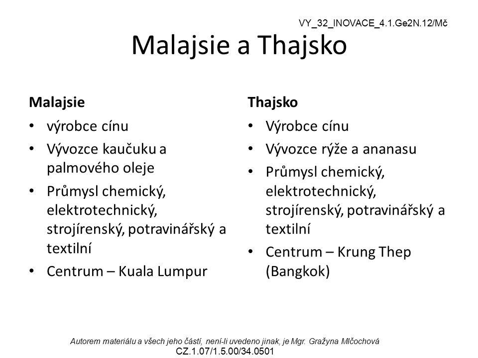 Malajsie a Thajsko Malajsie Thajsko výrobce cínu