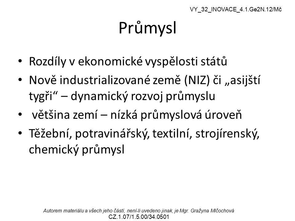 Průmysl Rozdíly v ekonomické vyspělosti států