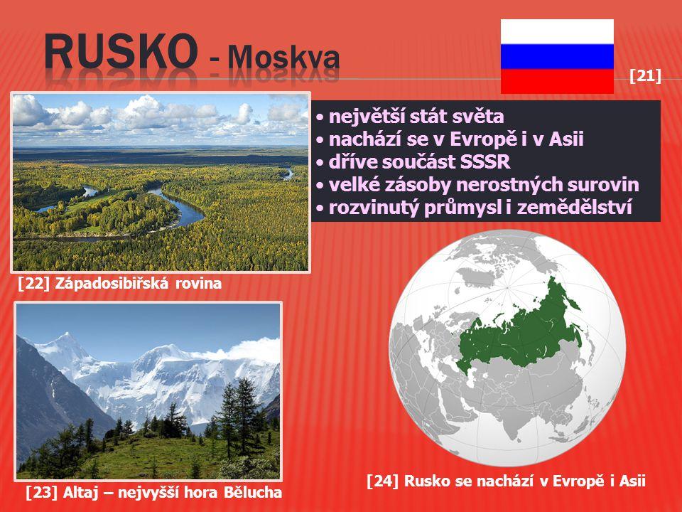 RUSKO - Moskva největší stát světa nachází se v Evropě i v Asii