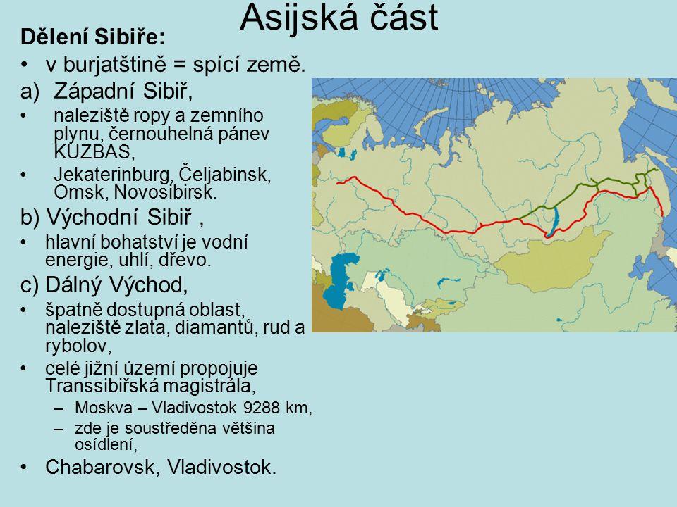 Asijská část Dělení Sibiře: v burjatštině = spící země. Západní Sibiř,