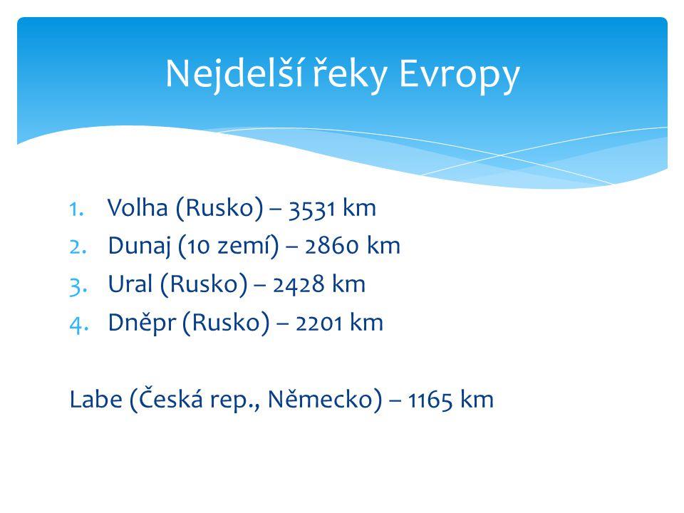 Nejdelší řeky Evropy Volha (Rusko) – 3531 km Dunaj (10 zemí) – 2860 km