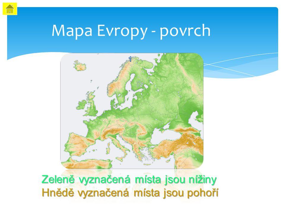 Mapa Evropy - povrch Zeleně vyznačená místa jsou nížiny