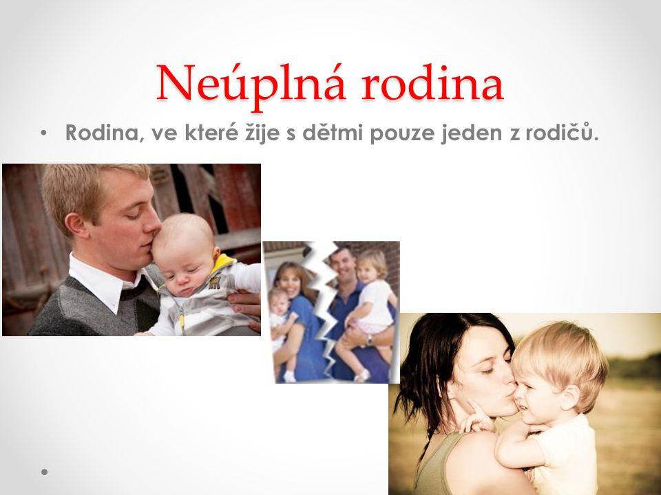 Neúplná rodina Rodina, ve které žije s dětmi pouze jeden z rodičů.