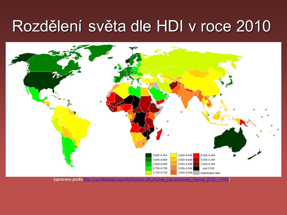 Rozdělení světa dle HDI v roce 2010