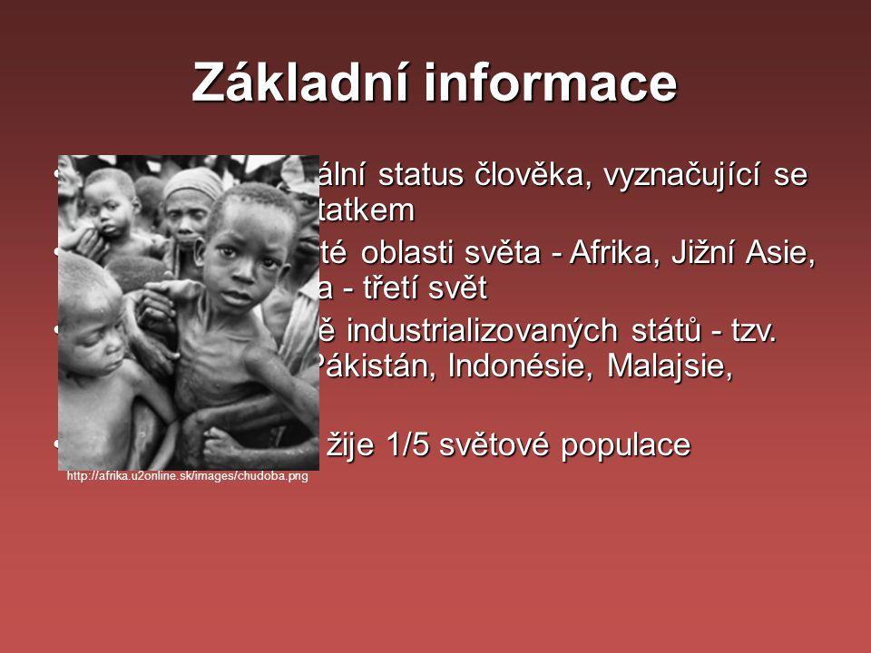 Základní informace chudoba = sociální status člověka, vyznačující se hmotným nedostatkem.
