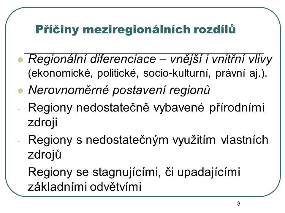 Příčiny meziregionálních rozdílů