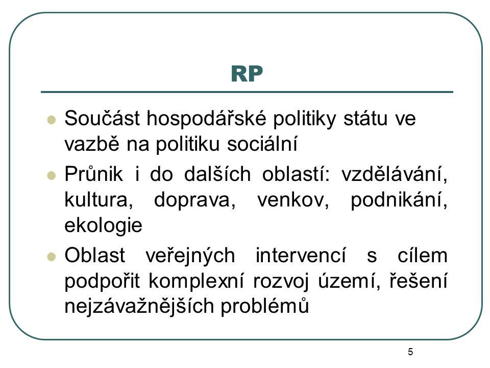 RP Součást hospodářské politiky státu ve vazbě na politiku sociální
