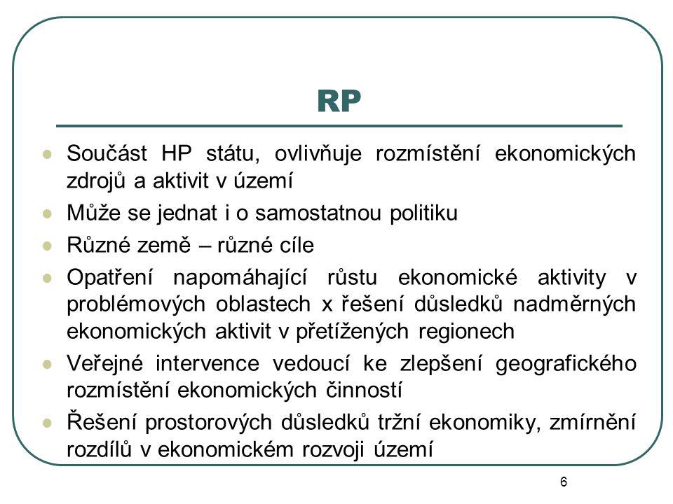 RP Součást HP státu, ovlivňuje rozmístění ekonomických zdrojů a aktivit v území. Může se jednat i o samostatnou politiku.