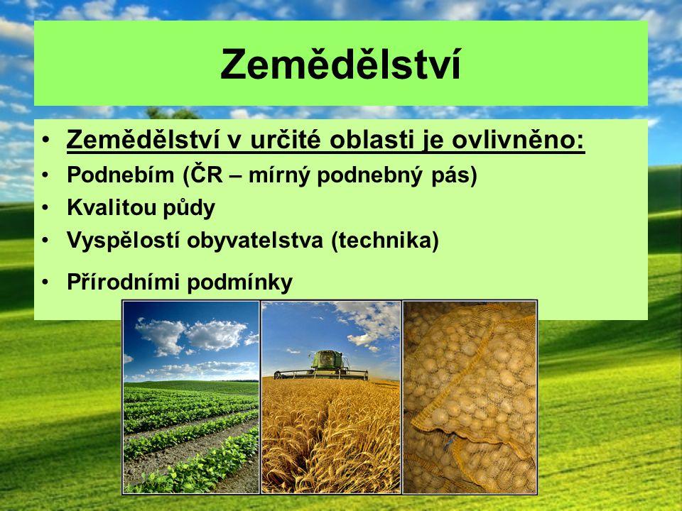 Zemědělství Zemědělství v určité oblasti je ovlivněno: