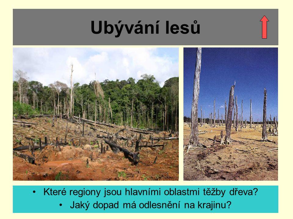 Ubývání lesů Které regiony jsou hlavními oblastmi těžby dřeva