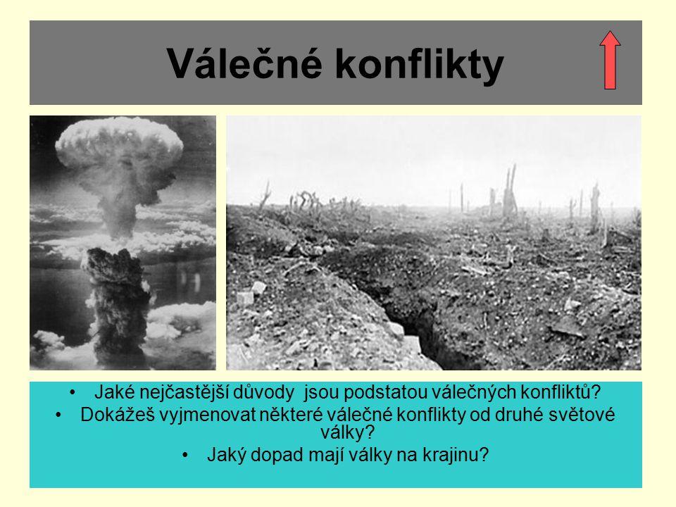 Válečné konflikty Jaké nejčastější důvody jsou podstatou válečných konfliktů Dokážeš vyjmenovat některé válečné konflikty od druhé světové války