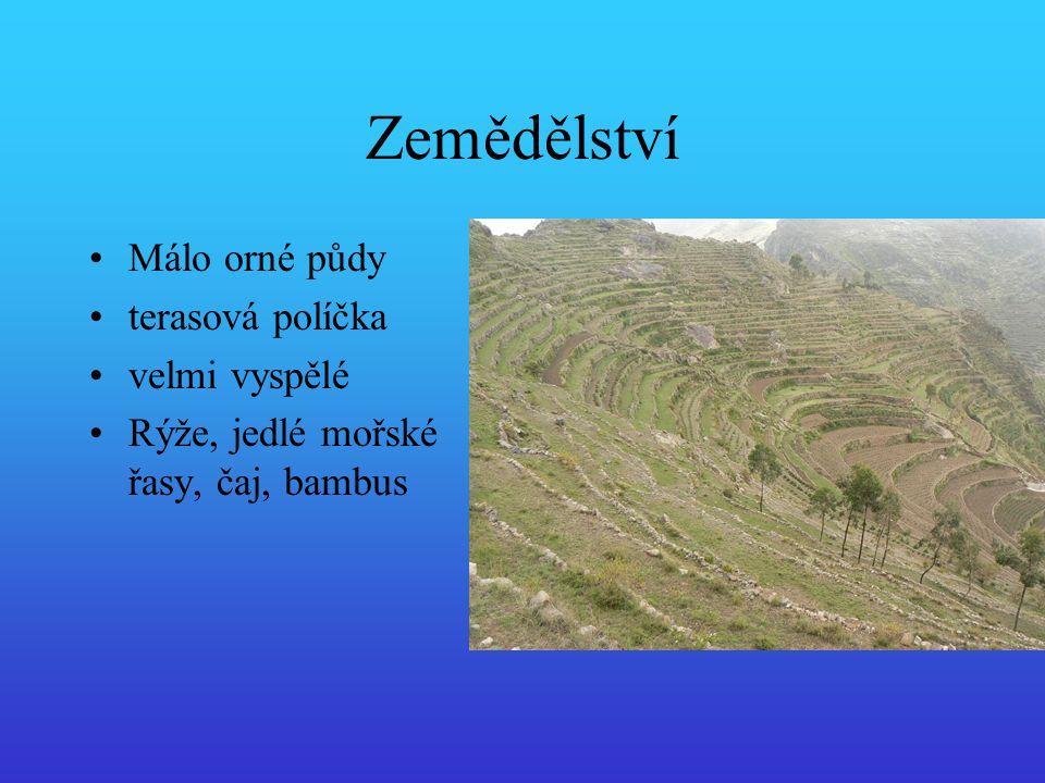 Zemědělství Málo orné půdy terasová políčka velmi vyspělé