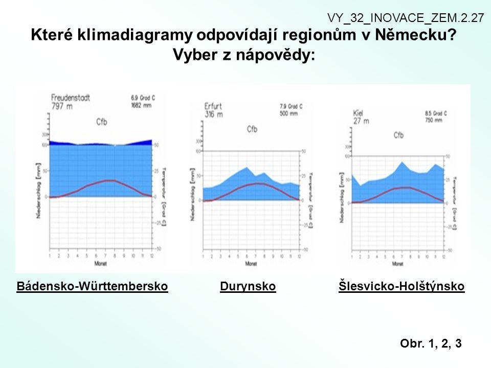 Které klimadiagramy odpovídají regionům v Německu Vyber z nápovědy: