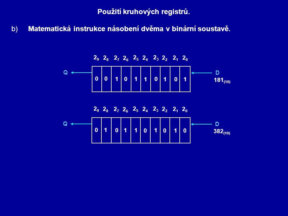 Použití kruhových registrů.