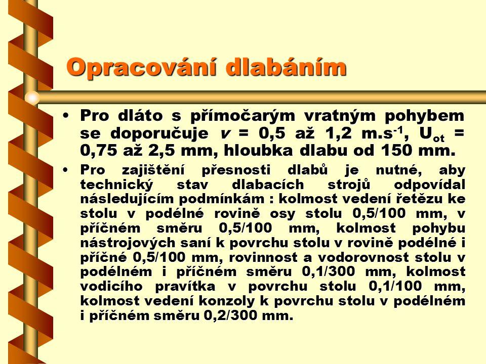 Opracování dlabáním Pro dláto s přímočarým vratným pohybem se doporučuje v = 0,5 až 1,2 m.s-1, Uot = 0,75 až 2,5 mm, hloubka dlabu od 150 mm.