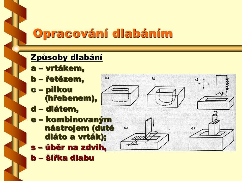 Opracování dlabáním Způsoby dlabání a – vrtákem, b – řetězem,