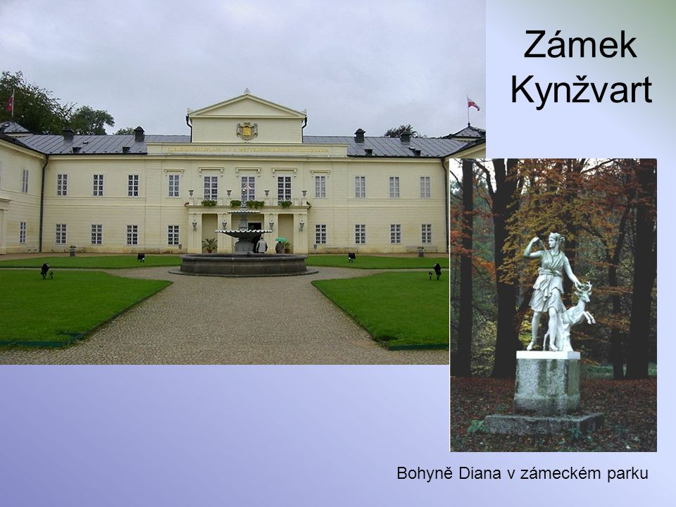 Zámek Kynžvart Bohyně Diana v zámeckém parku