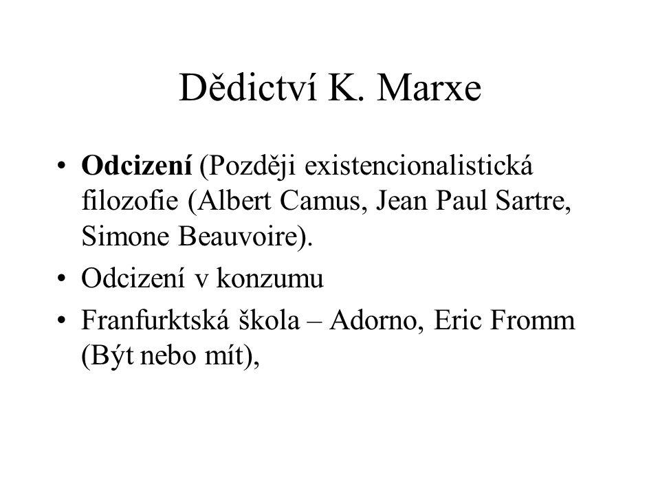 Dědictví K. Marxe Odcizení (Později existencionalistická filozofie (Albert Camus, Jean Paul Sartre, Simone Beauvoire).