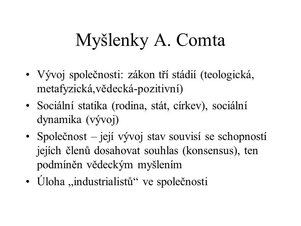 Myšlenky A. Comta Vývoj společnosti: zákon tří stádií (teologická, metafyzická,vědecká-pozitivní)
