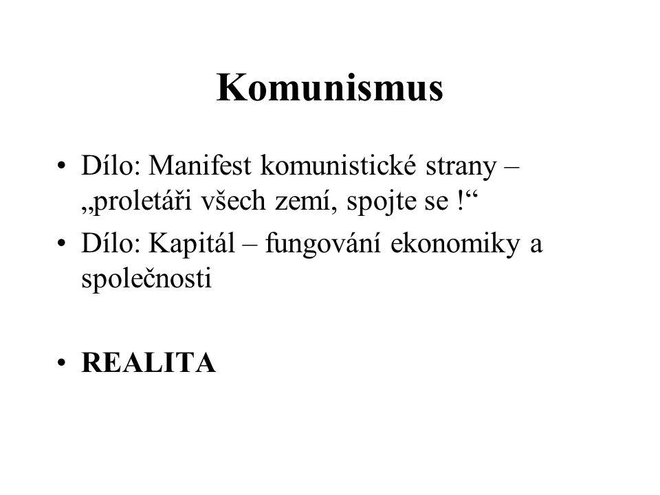 """Komunismus Dílo: Manifest komunistické strany – """"proletáři všech zemí, spojte se ! Dílo: Kapitál – fungování ekonomiky a společnosti."""