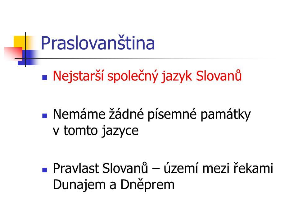 Praslovanština Nejstarší společný jazyk Slovanů