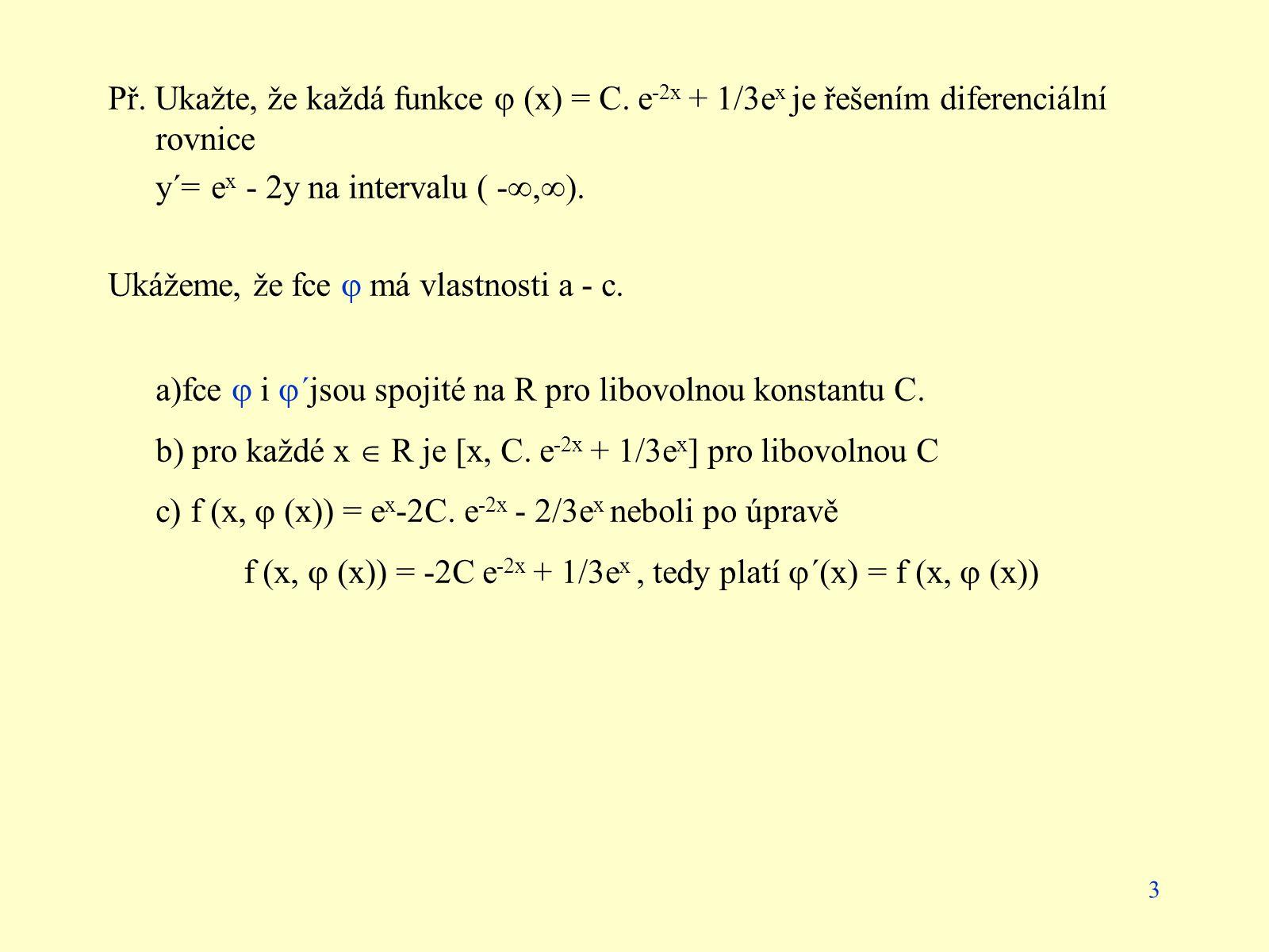Př. Ukažte, že každá funkce  (x) = C