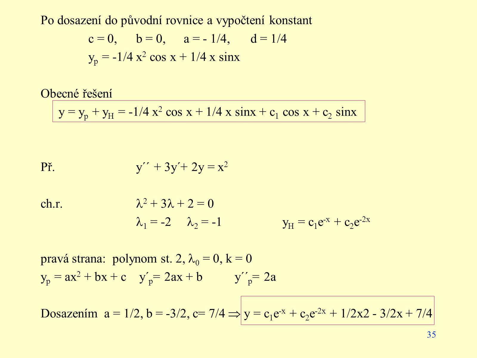 Po dosazení do původní rovnice a vypočtení konstant